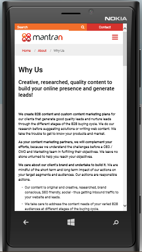 Mobile-optimized content with short paragraphs